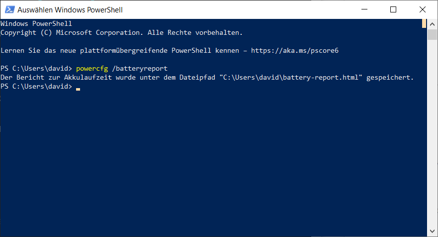 PowerShell Akkuleistung per powercfg batteryreport